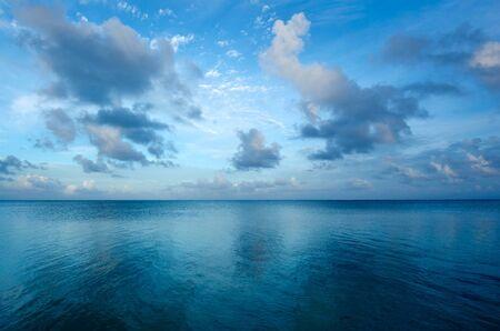 sunrise beach: Landscape of Aitutaki Lagoon Cook Islands during early morning.