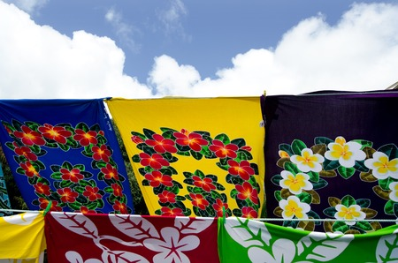 oceanic: Lava-lava - Sarongs on display in the market.A traditional clothing worn as a skirt by Polynesians and other Oceanic peoples. Stock Photo