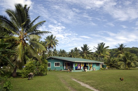islanders: AITUTAKI - SEP 20:Cook Islanders home on Sep 20 2013.Aitutaki is the second most visited island of the Cook Islands, after Rarotonga, with population of only 2000 people. Editorial