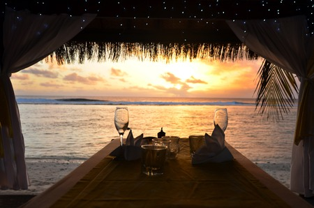 Romantic dinner for two on the beach of Pacific Island.