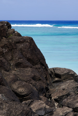 islanders: Black Rock, or Touro, legendary departure place of the deceased souls of the Cook Islanders, Polynesians ancestors.  Stock Photo