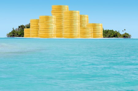 tax evasion: Offshore banking and  tax havens concept with golden coins on sand island and palm trees. Copy space