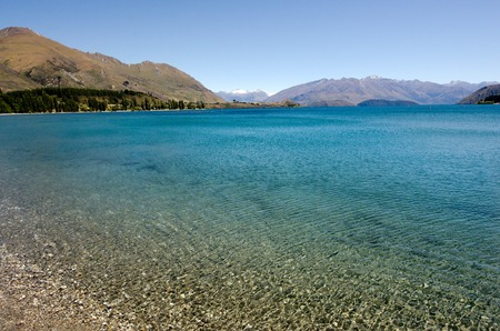 aspiring: Wanaka lake in the Otago region of the South Island of New Zealand. Stock Photo
