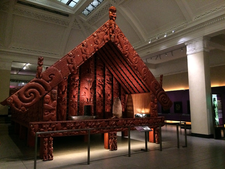 food storage: AUCKLAND -AUG 16 2015:Maori food storage building in Auckland Museum.The Maori people are the natives of New Zealand since 1250 and 1300 CE.