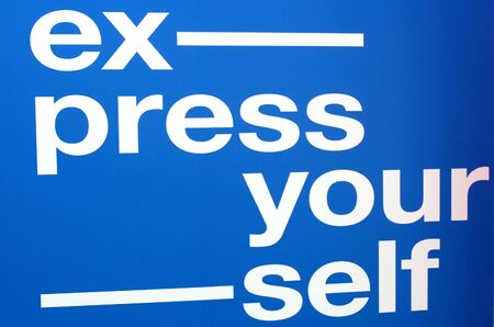 Express yourself text.Text write on wall.