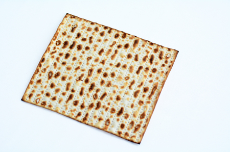 matzos: leavened bread, matza on White background with copy space