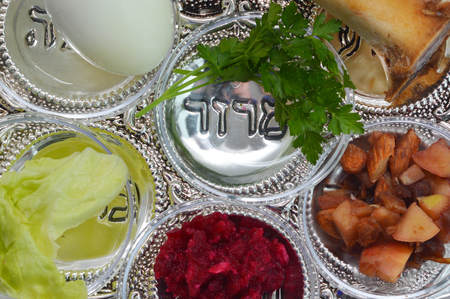 symbolic: Passover Seder Plate with The seventh symbolic item used during the seder meal on passover Jewish holiday.