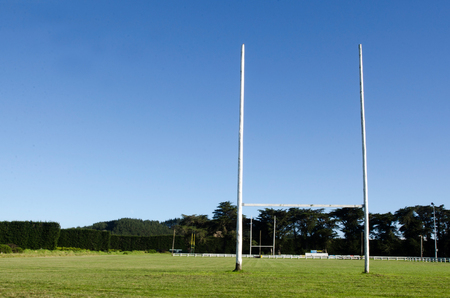 sports field: Goal posts for football, rugby union or league on field. Concept photo of sport, achievement mission and goals. Stock Photo