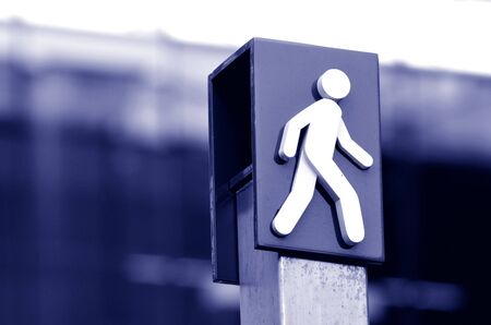 passing the road: Man crossing sign and symbol. concept photo copyspace
