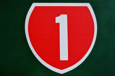 1: New Zealand State Highway 1 road sign.