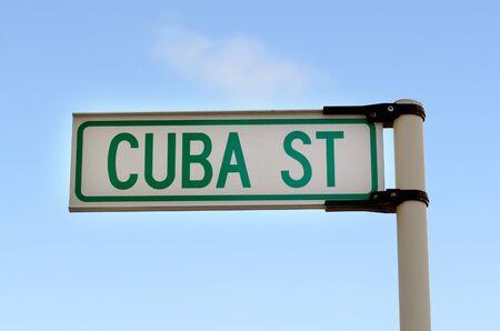 wellington: Cuba Street sign in Wellington, New Zealand. Stock Photo