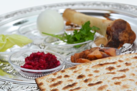 Passover Seder Plate with The seventh symbolic item used during the seder meal on passover Jewish holiday.