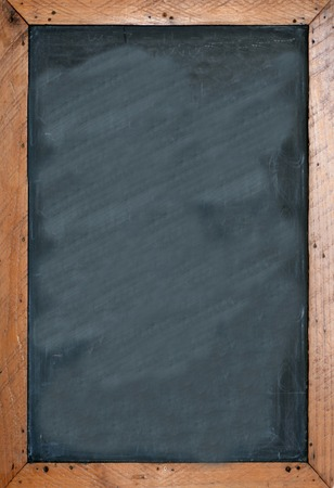 vertical: Blank chalkboard with brown wooben frame. Empty space for insertion and to add text.