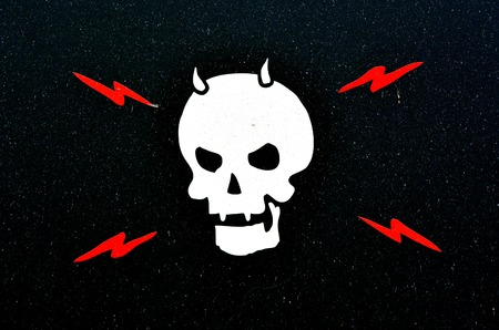 devil horns: Human skull with horns and red lightning on black background.