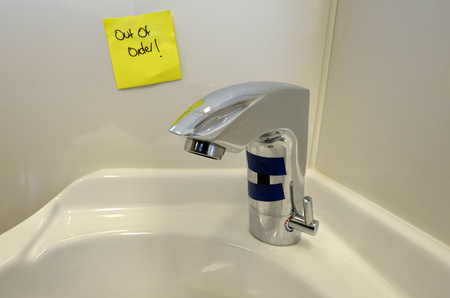out of water: Water tap out of order.