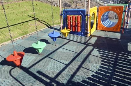 jungle gyms: Modern children toy playground in park.