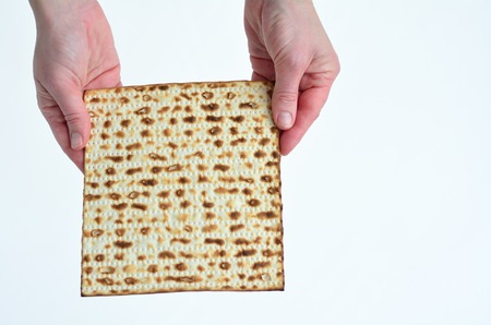 matzes: Jewish woman hands holds leavened bread, matza on white background with copy space Stock Photo