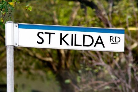 st kilda: St Kilda Road street sign in Melbourne Victoria, Australia. Stock Photo