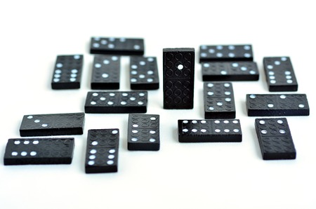 noteworthy: Leadership concept, domino standing out from the crowd, isolated on white background. copyspace Stock Photo