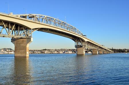 Auckland Harbor Bridge in Auckland, New Zealand.