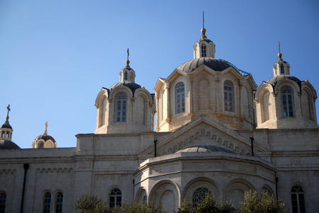 compound: The Holy Trinity church in the Russian Compound Jerusalem, Israel.