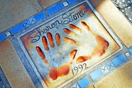 sharon: Handprints of movie and film stars Sharon Stone in Cannes, France. Editorial