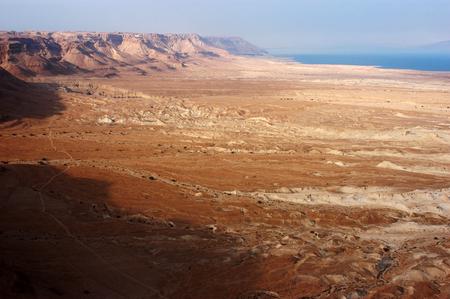 israel war: Landscape View of the Dead Sea From Masada Israel.