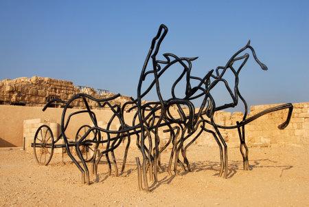caesarea: CAESAREA - AUGUST 13: Sculpture of horse chariot at Caesarea National park on August 13 2007 in Caesarea, Israel.
