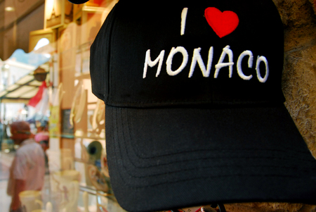 french ethnicity: I love Monaco hat in a Souvenirs shop in Monaco.