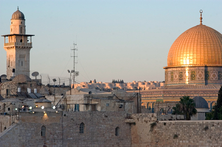 judaic: The Kotel Wailing Western Wall and Temple Mount in Jerusalem, Israel. Editorial