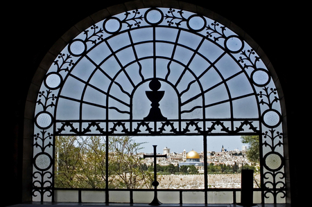 mount of olives: View of Jerusalem old city and temple mount from a window of the Dominus Flevit Church on mount olives i Jerusalem, Israel. Stock Photo
