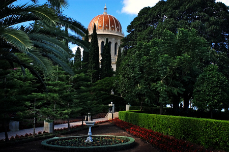 bahaullah: The Bahai Temple and gardens in Haifa, Israel. Stock Photo