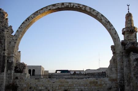 sien: arco reconstruido de Hurva sinagoga en Jerusal�n, ciudad vieja, Israel.