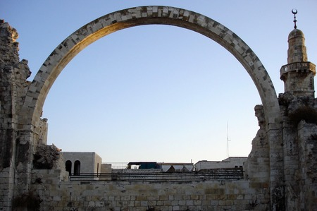 temple tower: Reconstructed arch of Hurva synagogue in Jerusalem old city, Israel.