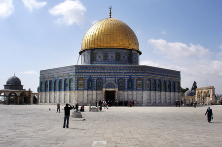 Muslim people visit The Golden Dome Mosque on Temple Mount Jerusalem, Israel. Editorial
