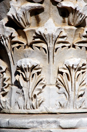 lament: Close up of ancient artwork in Ashkelon National Park in Ashkelon, Israel. Stock Photo