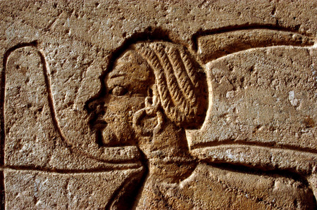 abu simbel: An ancient Egyptian artwork at the Great Temple of Abu Simbel on the border of Egypt and Sudan.