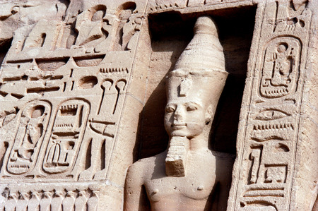 abu simbel: Statue of Ramses II at the Great Temple of Abu Simbel on the border of Egypt and Sudan.
