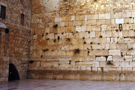 The Kotel Wailing Western Wall empty at night in Jerusalem, Israel.