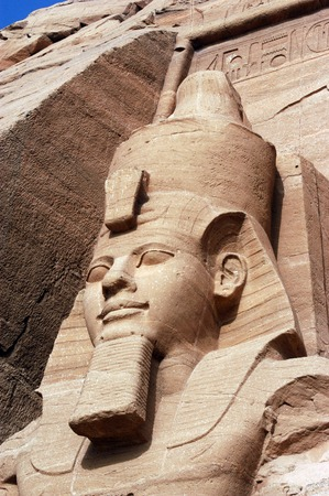 Statue of Ramses II at the Great Temple of Abu Simbel on the border of Egypt and Sudan.