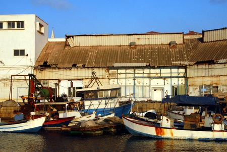 middle ages boat: Fishing boats mooring at ancient Yaffo Port Israel in Tel Aviv, Israel.