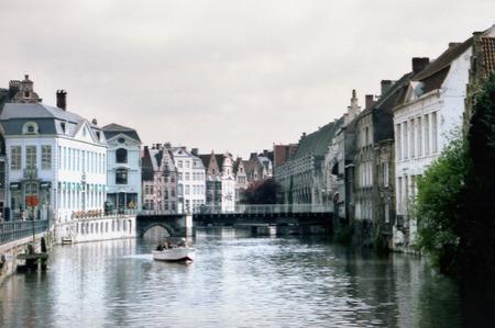 Boat on river Gent in Gent, Belgium.