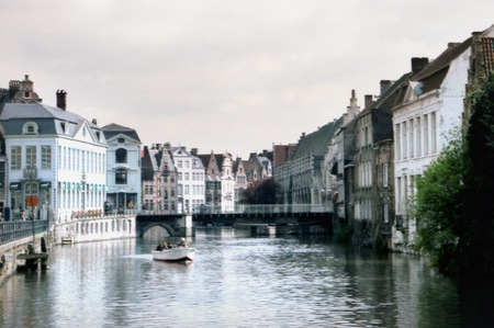 middle ages boat: Boat on river Gent in Gent, Belgium.