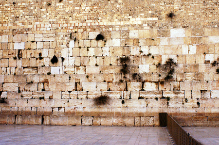 A rear photo of the western wailing wall the Kotel Empty at night in Jerusalem, Israel. Stock Photo