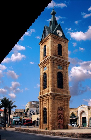 tel: The Clock tower in Jaffa, tel aviv, Israel.