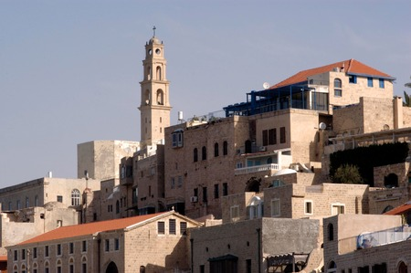 jaffa: St. Peters Church, from the main plaza of old Jaffa, Israel.