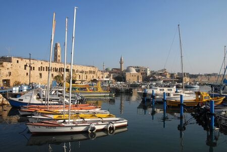 acre: The historic port of Acre in Akko ,Israel.