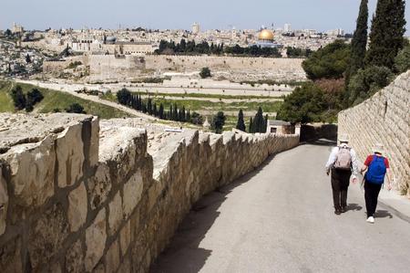 mount of olives: Two visitors walking to Jerusalem from Mount of Olives. Eye