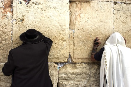 talmud: Jewish orthodox men pray at the western wall in the old city of Jerusalem, Israel