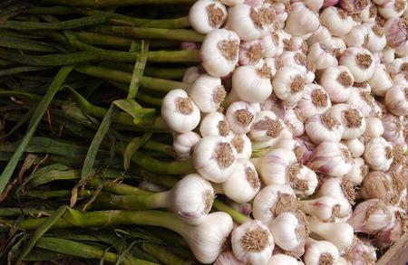 garlic: Garlic on display in the market.